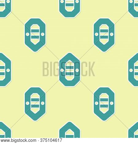 Green Rafting Boat Icon Isolated Seamless Pattern On Yellow Background. Inflatable Boat. Water Sport