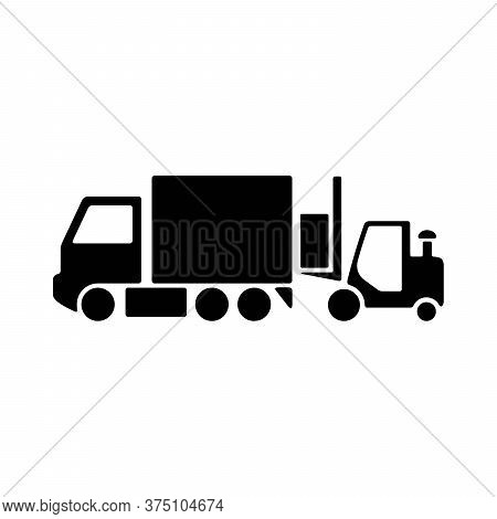 Shipment Truck And Forklift Icon. Delivery Van And Lift Truck Symbol. Modern Icon Design For Cargo,
