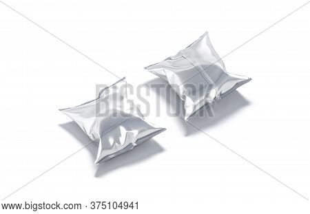 Blank Silver Foil Chips Pack Mockup, Front And Back View, 3d Rendering. Empty Sachet Pouch For Potat
