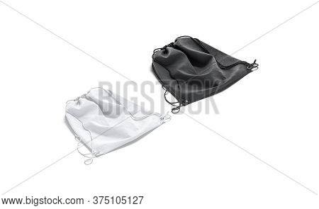 Blank Black And White Drawstring Backpack Mockup Set Lying, Side View, 3d Rendering. Empty Linen Bac