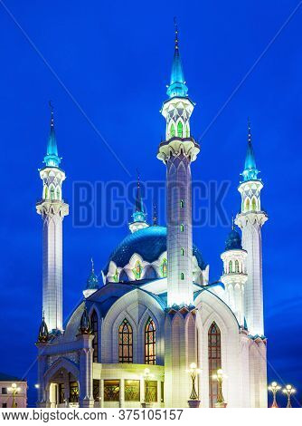 The Kul Sharif Mosque At Night. It Is A One Of The Largest Mosques In Russia. The Kul Sharif Mosque
