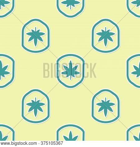 Green Shield And Marijuana Or Cannabis Leaf Icon Isolated Seamless Pattern On Yellow Background. Mar