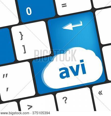 Closeup Of Avi Key In A Modern Keyboard Keys