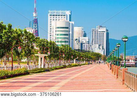 Riverfront Promenade In Danang City In Vietnam