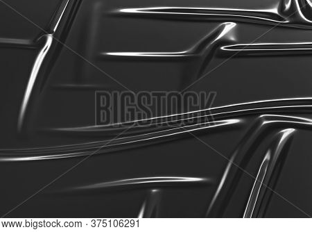 Blank Black Crumpled Plastic Foil Wrap Overlay Mock Up, 3d Rendering. Empty Textured Decorative Cell