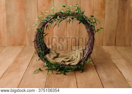 Newborn Digital Background Nest Prop For Newborn. For Boys And Girls. Wood Back. Shoot Set Up With P
