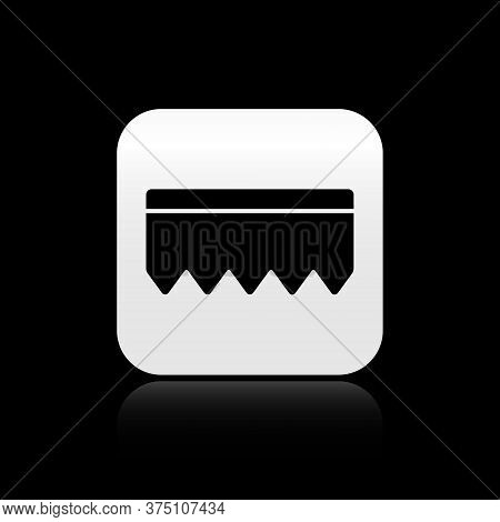 Black Sponge With Bubbles Icon Isolated On Black Background. Wisp Of Bast For Washing Dishes. Cleani