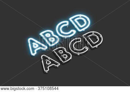 Decorative A B C D Letters, Neon Font Mockup, 3d Rendering. Capital Ultraviolet Typeface With Illumi