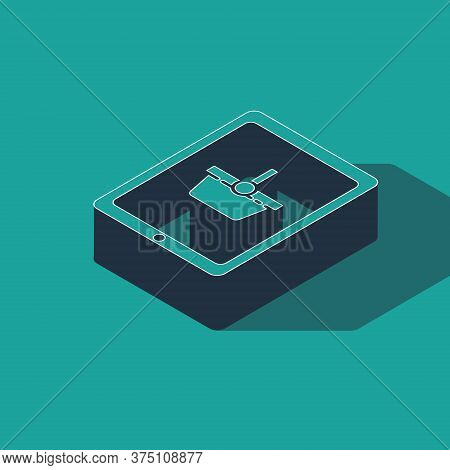 Isometric Shopping Basket On Screen Tablet Icon Isolated On Green Background. Concept E-commerce, E-