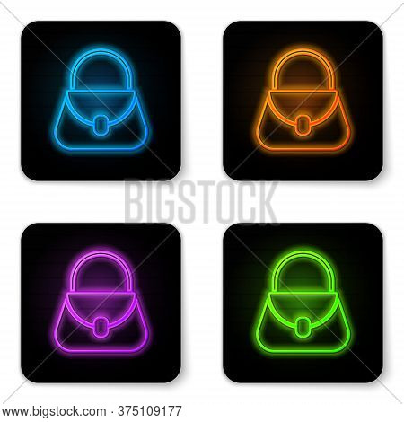 Glowing Neon Handbag Icon Isolated On White Background. Female Handbag Sign. Glamour Casual Baggage