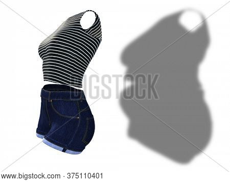 Conceptual fat overweight obese female clothes outfit vs slim fit healthy body after weight loss or diet thin young woman isolated. A fitness, nutrition or fatness obesity health shape 3D illustration