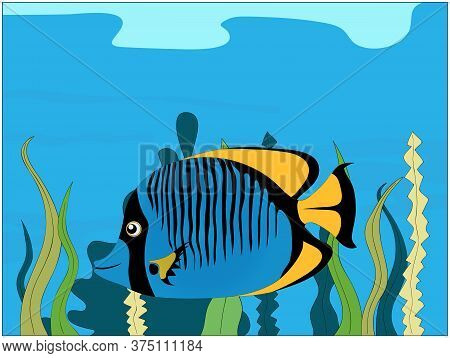 Hand Drawn Blue Fish With Black Stripes And Yellow Fins Underwater With Sea Vegetation Background