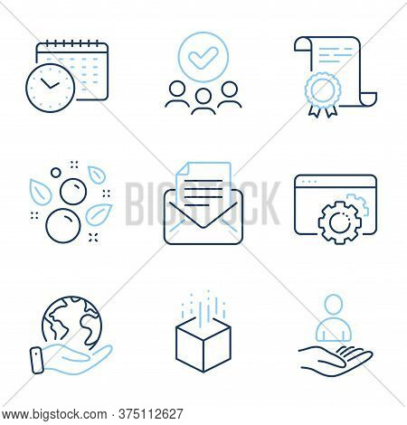 Mail Correspondence, Recruitment And Seo Gear Line Icons Set. Diploma Certificate, Save Planet, Grou