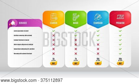 Sales Diagram, Report Checklist And Keywords Line Icons Set. Pricing Table, Price List. Checkbox Sig