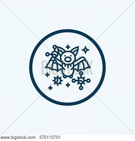 Bat And Virus Transmission Thin Line Icon, Coronavirus Epidemic Concept, Virus On Bat Sign On White