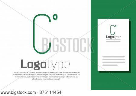 Green Line Celsius Icon Isolated On White Background. Logo Design Template Element. Vector Illustrat