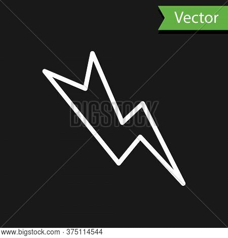 White Line Lightning Bolt Icon Isolated On Black Background. Flash Sign. Charge Flash Icon. Thunder