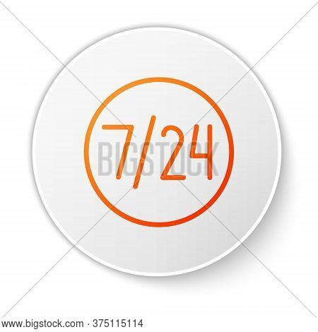 Orange Line Clock 24 Hours Icon Isolated On White Background. All Day Cyclic Icon. 24 Hours Service