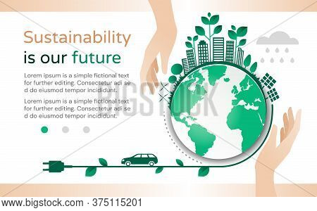 Sustainability Is Our Future Design Template With A Green Planet Surrounded With Buildings And Entwi