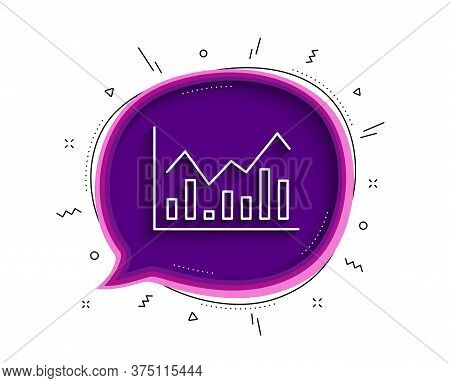 Financial Chart Line Icon. Chat Bubble With Shadow. Economic Graph Sign. Stock Exchange Symbol. Busi