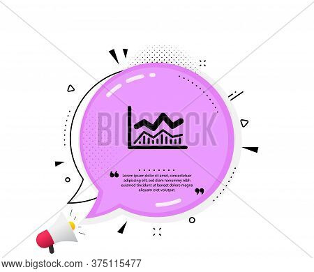 Line Chart Icon. Quote Speech Bubble. Financial Growth Graph Sign. Stock Exchange Symbol. Quotation