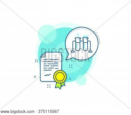 Laboratory Flask Sign. Certification Complex Icon. Chemistry Beaker Line Icon. Analysis Lab Symbol.