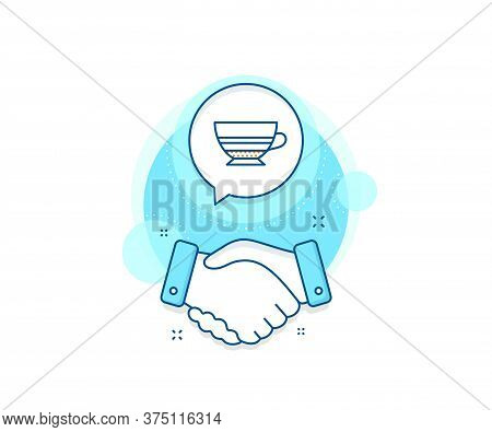 Hot Drink Sign. Handshake Deal Complex Icon. Mocha Coffee Icon. Beverage Symbol. Agreement Shaking H