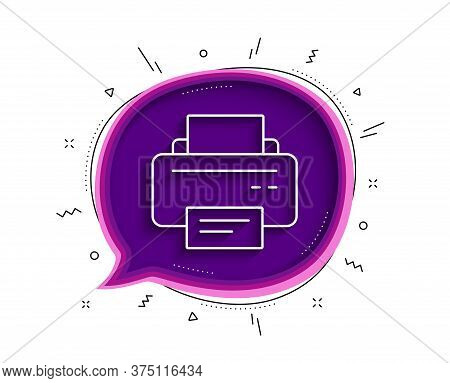 Printer Icon. Chat Bubble With Shadow. Printout Electronic Device Sign. Office Equipment Symbol. Thi