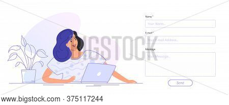 Contact And Feedback Blank Form. Flat Smiling Woman Sitting With Laptop And Looking At Contact Empty