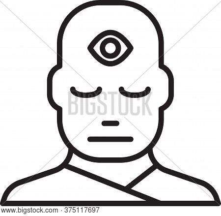 Black Line Man With Third Eye Icon Isolated On White Background. The Concept Of Meditation, Vision O