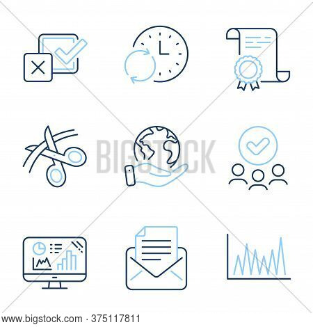 Mail Correspondence, Analytics Graph And Line Graph Line Icons Set. Diploma Certificate, Save Planet