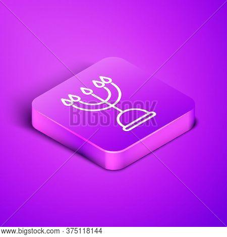 Isometric Line Hanukkah Menorah Icon Isolated On Purple Background. Hanukkah Traditional Symbol. Hol
