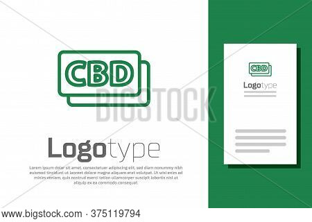 Green Line Cannabis Molecule Icon Isolated On White Background. Cannabidiol Molecular Structures, Th