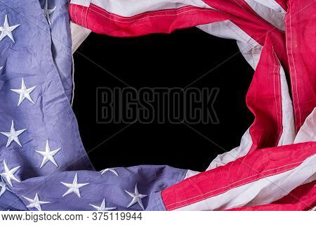 Us American Flag On Black Background. For Usa Memorial Day, Presidents Day, Veterans Day, Labor Day,