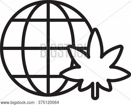 Black Line Legalize Marijuana Or Cannabis Globe Symbol Icon Isolated On White Background. Hemp Symbo