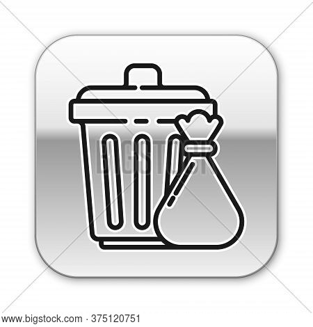 Black Line Trash Can And Garbage Bag Icon Isolated On White Background. Garbage Bin Sign. Recycle Ba