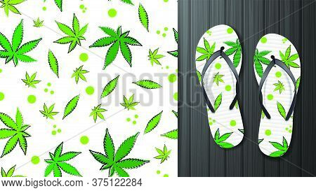 White Seamless Pattern With Leaves Of Cannabis. Eco Pattern Ready To Print In Cartoon Style. Pattern