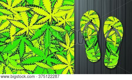 Green Pattern With Doodle Style Cannabis Leaves. Pattern Design For Printing On Flip-flops. Visualiz
