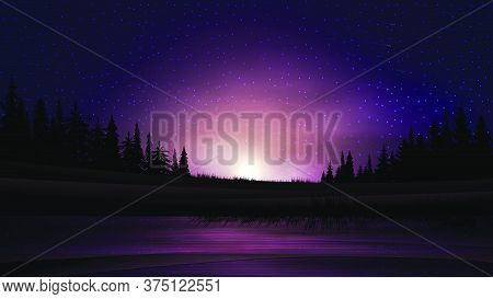 Sunset On The Lake. Summer Landscape With Sunset Over The Horizon, Pine Forest And Lake