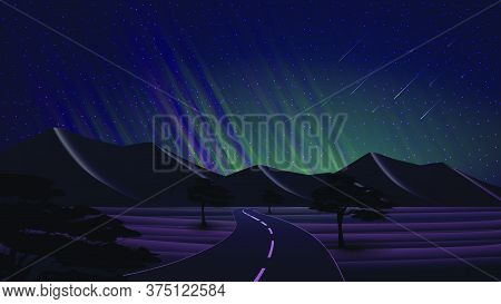 Night Landscape With A Road In The Desert With Sand Dunes, Trees, Starry Sky, Green Northern Lights