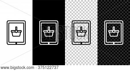 Set Line Shopping Basket On Screen Tablet Icon Isolated On Black And White Background. Concept E-com