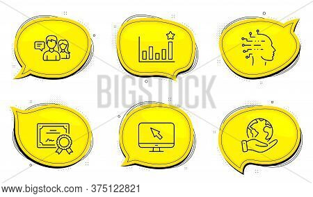 People Talking Sign. Diploma Certificate, Save Planet Chat Bubbles. Internet, Efficacy And Artificia