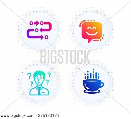 Methodology, Smile Face And Support Consultant Icons Simple Set. Button With Halftone Dots. Coffee C