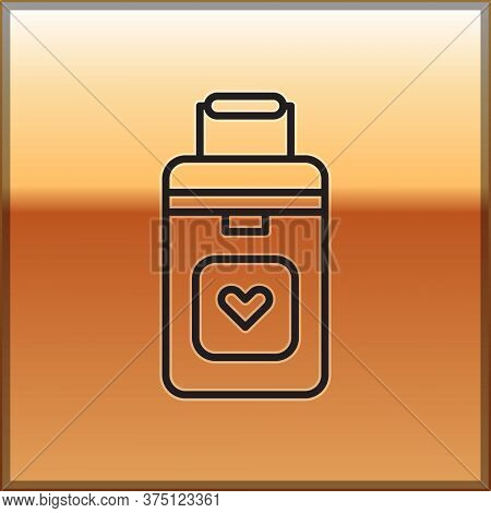 Black Line Cooler Box For Human Organs Transportation Icon Isolated On Gold Background. Organ Transp