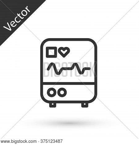 Grey Line Computer Monitor With Cardiogram Icon Isolated On White Background. Monitoring Icon. Ecg M