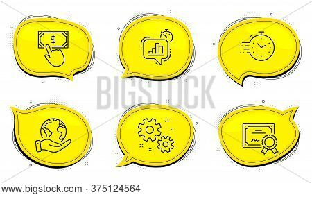Timer Sign. Diploma Certificate, Save Planet Chat Bubbles. Payment Click, Statistics Timer And Work