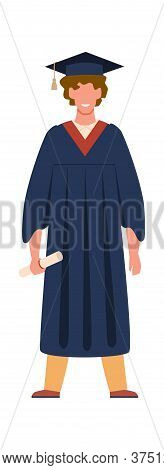 Graduate Student. Graduation From College, School Or University. Happy Smiling Boy Wearing Academic