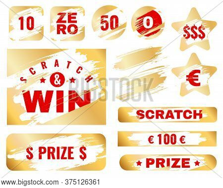 Golden Scratch Card. Lottery Cover For Instant Win Game Prize. Winning Or Lose Chance, Luck Coupon,