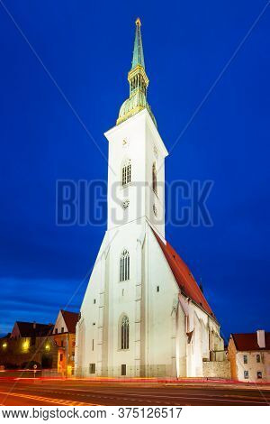 The St. Martin Cathedral Is A Roman Catholic Church In Bratislava, Slovakia At Sunset. St Martin Cat
