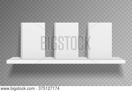 Bookshelf Mockup. Realistic Books On White Shelf On Wall With Shadow On Book Store. Clean Empty Pape
